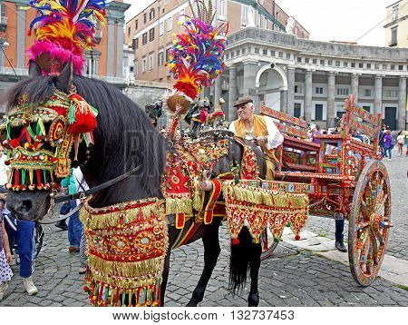 Naples Italy. May 29 2016: A participants of the parade of carriages with actors in costumes to commemorate the three hundredth anniversary of the birth of Charles of Spain who was King of Naples
