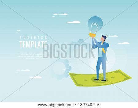Investing in ideas. Businessman holding light bulb