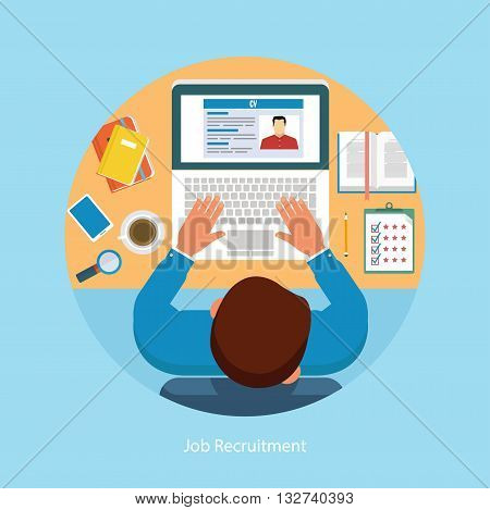 Vector illustration of job recruitment concept. Writing a business resume concept