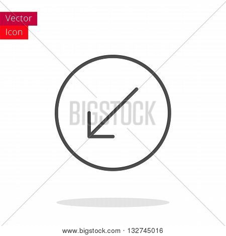 Arrow Left Down Thin Line Icon. Arrow Icon in circle. Vector Arrow Icon. Round Arrow Icon. Arrow Icon On white background. Arrow Icon Illustration.