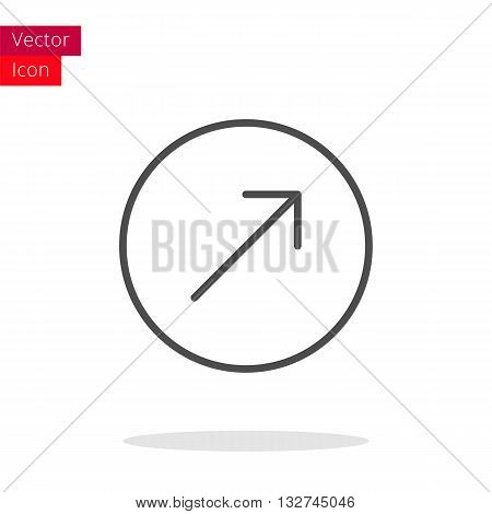 Arrow Up Right Thin Line Icon. Arrow Icon in circle. Vector Arrow Icon. Round Arrow Icon. Arrow Icon On white background. Arrow Icon Illustration.