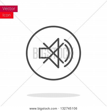 Mute Sound Thin Line Icon. Mute Icon in circle. Vector Mute Icon. Round Mute Icon. Mute Icon On white background. Mute Icon Illustration.