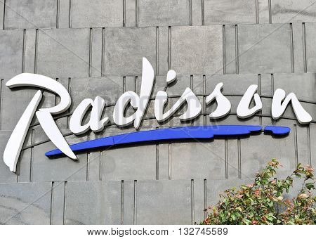 SOFIA BULGARIA - MAY 5: Logotype of Radisson in the street of Sofia on May 5 2016. Radisson Hotels is an international company founded in USA.