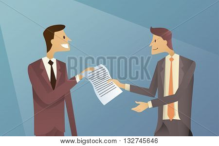 Businessmen Give Paper Document Business Man Agreement Contract Flat Vector Illustration