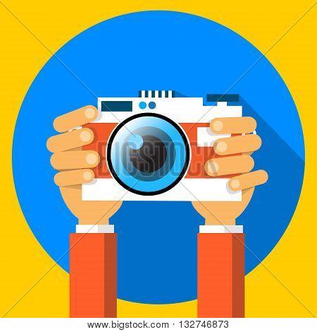Hands Holding Photo Camera Photography Flat Vector Illustration