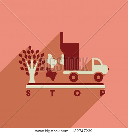 Flat web icon with long  shadow no environmental pollution