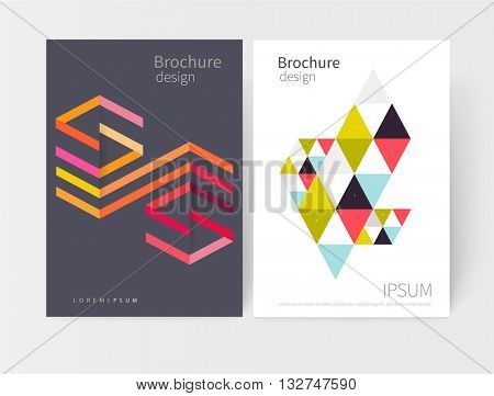 Creative design concept element. Vector set abstract geometric background green, blue, red, purple and yellow Diagonal lines, triangles. Modern White business brochure cover template