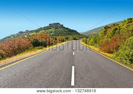 Asphalt Road in the Golan Heights in Israel