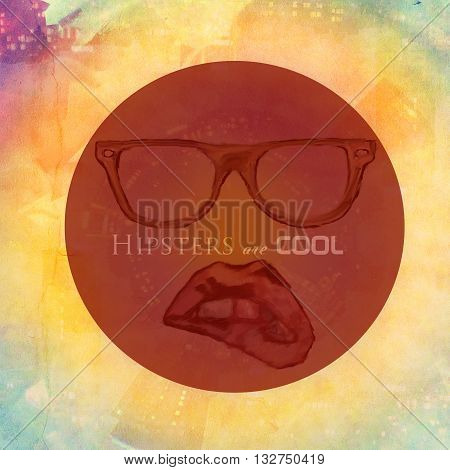 hipster urban background with glass and painted woman lips text added