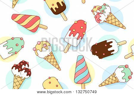 Colorful seamless pattern with ice cream different pastel color in line graphic. Concept graphic design ice cream and popsicle for ice cream shop. Vector illustration