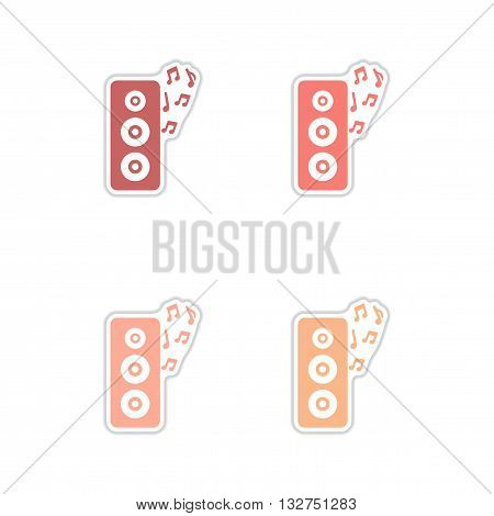 Set of paper stickers on white  background musical speaker