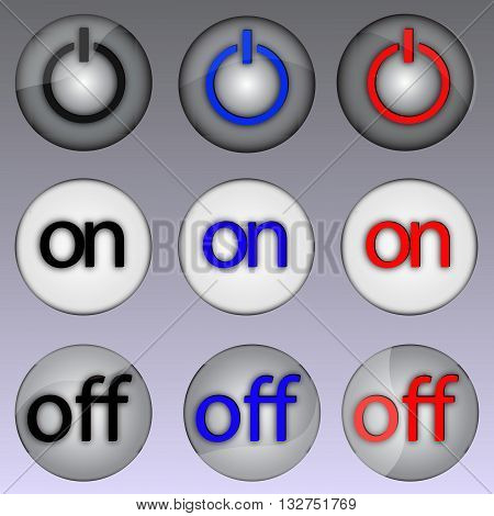 Vector illustration of power buttons in different modes and highlights.
