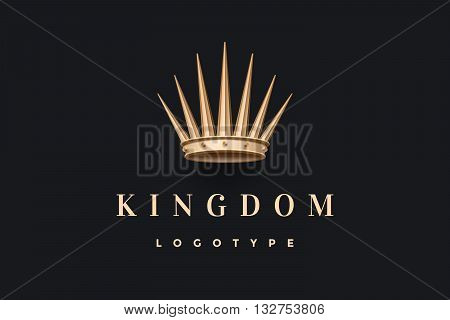 Logo with gold king crown and inscription Kingdom on a dark black background. Logo template for branding design. Business concept and identity symbol. Vector Illustration