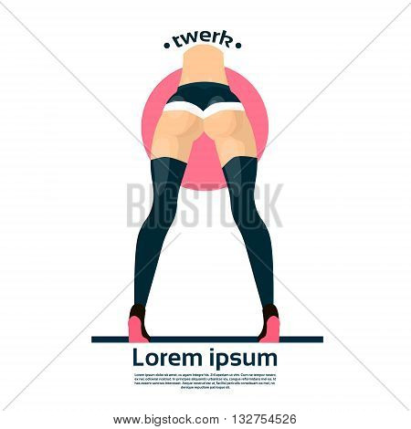 Twerk Booty Dancer Modern Girl Performer Dance Rear Back View Flat Vector Illustration