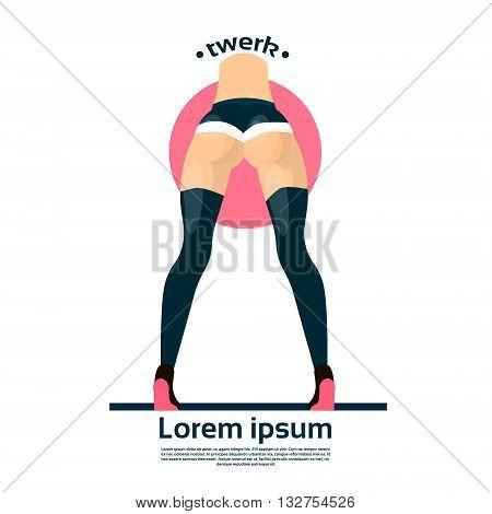 Twerk Booty Dancer Modern Girl Performer Dance Rear Back View Flat Vector Illustration