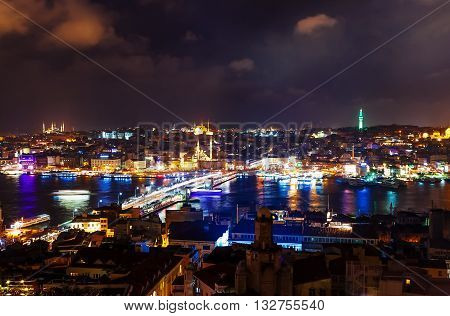 arial view in night from the Galata Tower