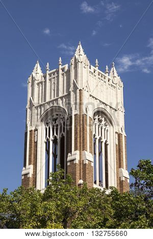 Bell tower of the First United Methodist Church in Dallas Texas United States