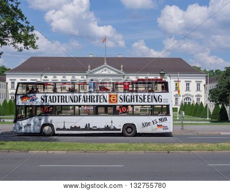 BERLIN GERMANY - JUNE 3 2016: tourist bus in front of Bellevue palace