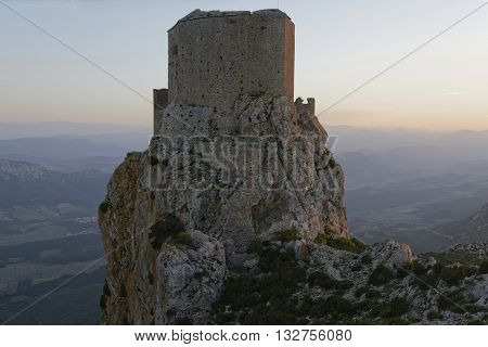 Cucugnan, France, May 27, 2016 : Queribus Is One Of The Five Castles Strategically Placed To Defend