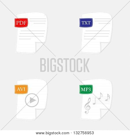 Vector illustration file type icons avi txt mp3 pdf format symbol.