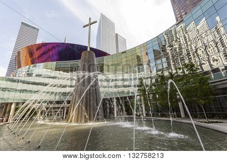 DALLAS USA - APR 7: Fountain at the First Baptist Church building in Dallas downtown. April 7 2016 in Dallas Texas United States