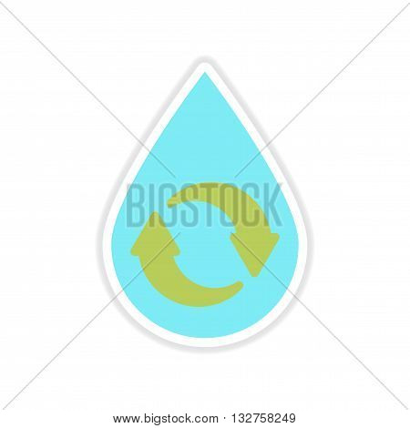 paper sticker on white  background drop recycling arrows