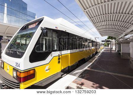 DALLAS USA - APR 7: Dallas Area Rapid Transit (DART) train at the Union Station in Dallas. April 7 2016 in Dallas Texas USA