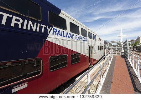DALLAS USA - APR 7: Trinity Railway Express train (TRE) at the Union Station in the city of Dallas. April 7 2016 in Dallas Texas USA