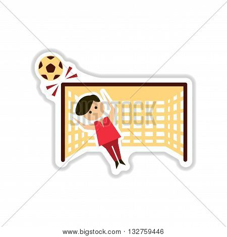 paper sticker on white  background soccer goalie