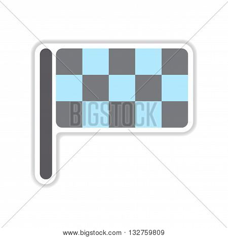 paper sticker on white  background finish flag