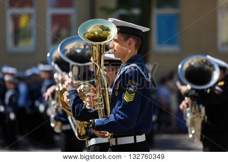 Kaliningrad Russia - May 25 2016: The military orchestra on the ceremony at the school Sea Cadet Corps of Andrew Pervozvanniy