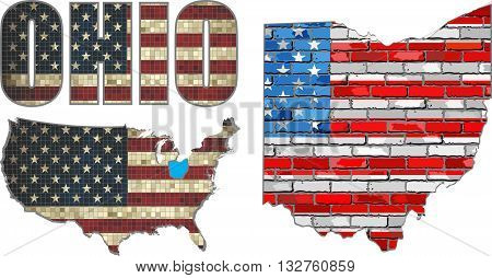 USA state of Ohio on a brick wall - Illustration, The flag of the state of Ohio on brick textured background,  Font with the United States flag,  Ohio map on a brick wall