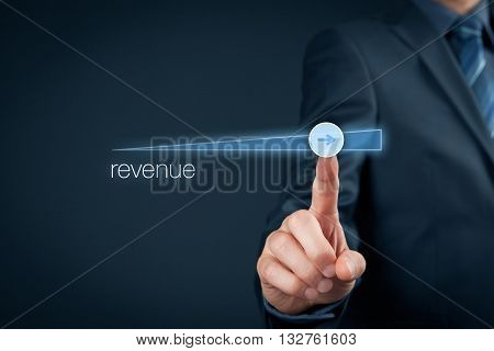 Increase revenue concept. Businessman accelerate revenue growth.