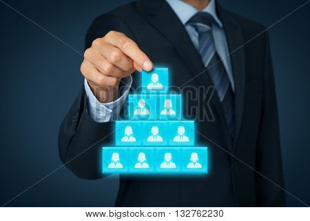 CEO leadership and corporate hierarchy concept - recruiter complete team with one leader person.
