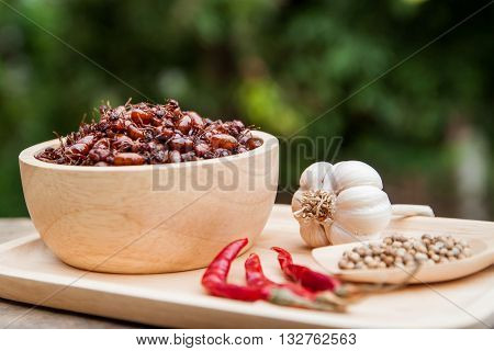 subterranean ants in wood bowl local cuisine of thai