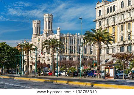 Cagliari, Sardinia, January 2 of 2016, Italy. Town Hall, Municipio di Cagliari, view on The Street of Rome