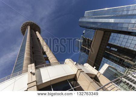 DALLAS USA - APR 7: The Reunion Tower with a 171 m high observation deck and the Grand Hyatt hotel in Dallas Downtown. April 7 2016 in Dallas Texas USA
