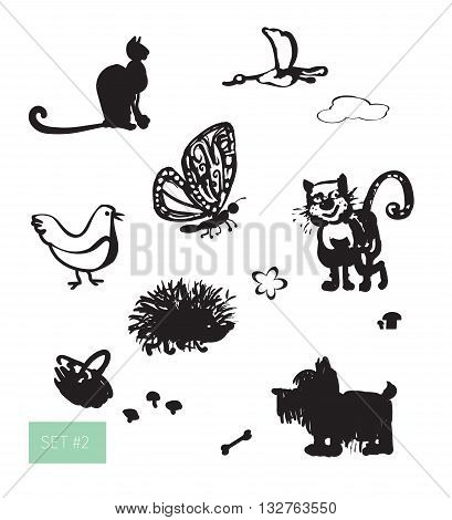 Vector illustration. Cute domestic animals set: duck, funny cat, furry dog, chicken and others. Black on white background.