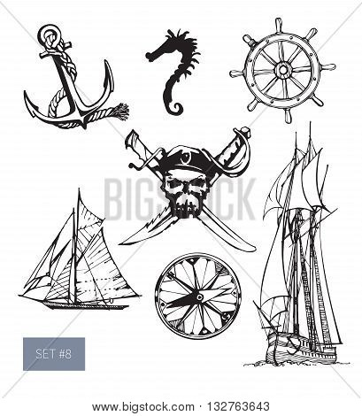 Vector illustration. Pirate symbols set: jolly roger, anchore and sailing boat. Black on white background.