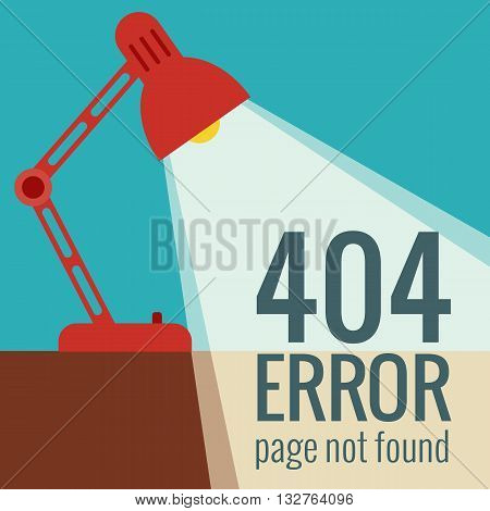 Vector concept 404 error. Illustration for 404 page not found. Flat design 404 page. Template for 404 error page not found. Illustration of lamp light for page with 404 error