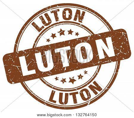 Luton brown grunge round vintage rubber stamp.