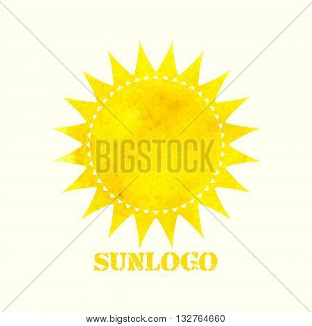 Sun logo, Watercolor sun, Sun icon, Vector illustration