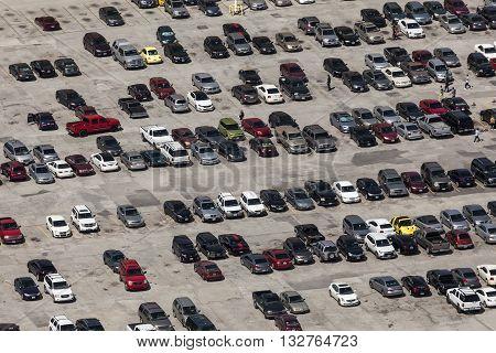 DALLAS USA - APR 7: Aerial view of parking lot in the city of Dallas. April 7 2016 in Dallas Texas United States