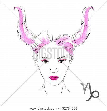 Beautiful image with nice watercolor horoscope girl Capricorn