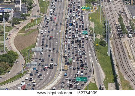 DALLAS USA - APR 7: View of a crowded highway in Dallas. April 7 2016 in Dallas Texas United States