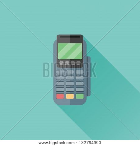 Pos terminal flat icon with long shadow on teal background. Pos machine payment vector illustration.