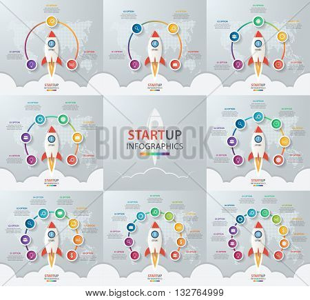 Startup vector circle infographic set with rocket launch and styled world map. 3 4 5 6 7 8 9 10 options parts steps processes business concept for graphs charts diagrams.