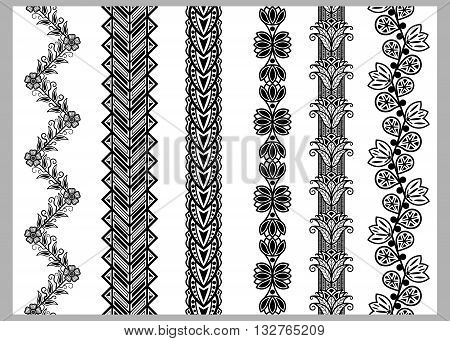 Indian Henna Border decoration elements patterns in black and white colors. Lace borders vertical vector seamless lace patterns geometric borders flower pattern vector illustration.
