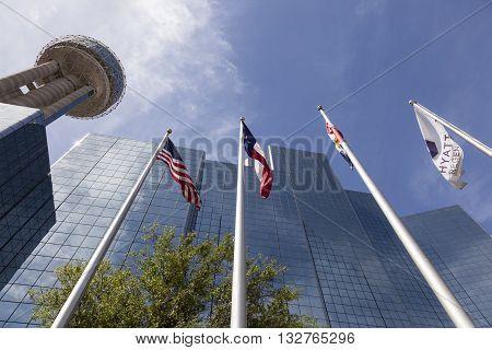 DALLAS USA - APR 7: The Reunion Tower and Hyatt Regency luxury hotel in Dallas. April 7 2016 in Dallas Texas USA