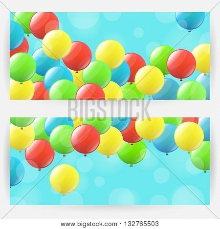 Two festive backgrounds with colourful balloons. Horizontally elongated rectangular backgrounds